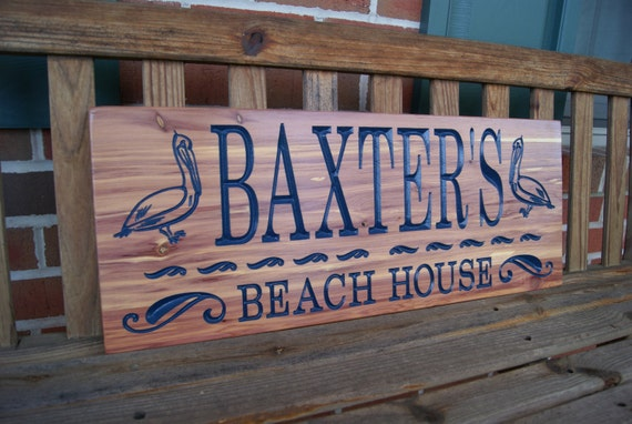 Personalized Beach House Sign-driveway sign-home address sign-custom address sign-home decor-Last Name Sign-Custom Carved Wooden-Cedar 354