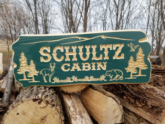 Cabin Sign Personalized Custom Signs Wooden Signs Wooden Sign Bungalow Cabin Signs Custom Outdoor Name Signs Housewarming Gift Hardwood 337