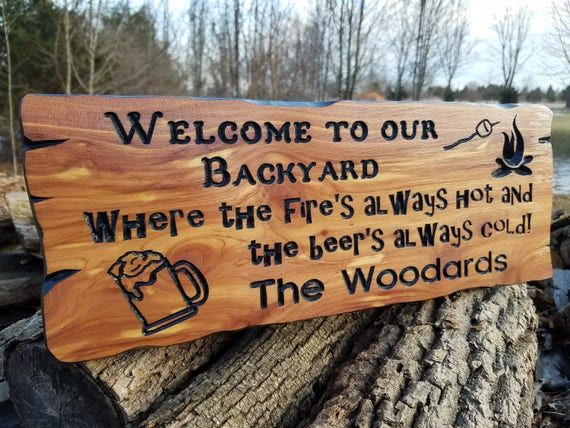 Welcome To Our Backyard custom wood signs wooden signs custom outdoor name signs outdoor wood sign outdoor signs personalized Cedar 745