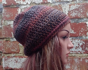 Colorful crochet beanie , Women's  beanie hat .Brown beanie . Slouch beanie . Crochet hat .
