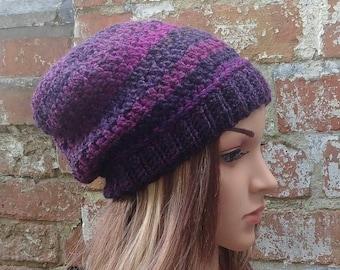 Beanie hat . Slouch beanie . Crochet hat . Purple hat . Colourful beanie  hat .Festival beanie hat .