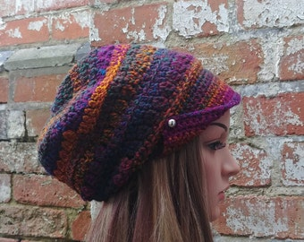 3e71739e043 Newsboy hat with buttons . Colourful beanie hat . Crochet beanie .Slouch  beanie . Colourful festival hat .