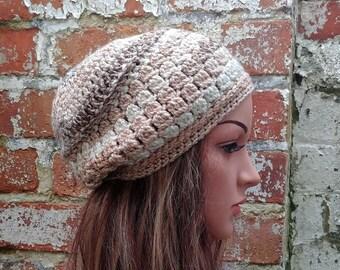 Beige crochet beanie , Women's  beanie hat . Slouch beanie . Crochet hat .  Wool hat for women.