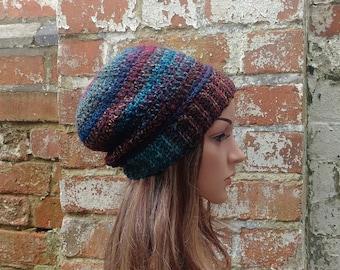 Colorful crochet beanie , Slouch beanie .Women's  beanie hat .  Crochet hat . Festival beanie