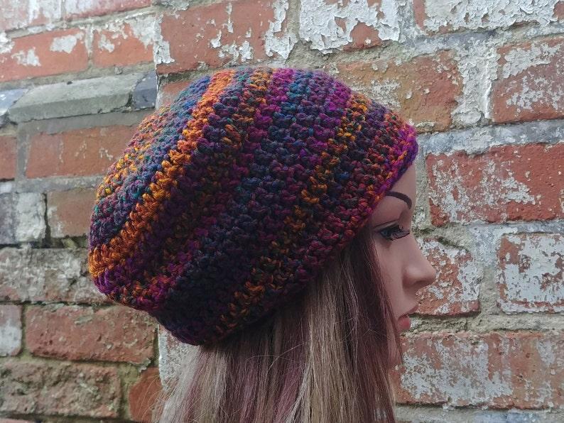 5ee42e7183d Colourful beanie. Slouch beanie . Crochet beanie . Festival