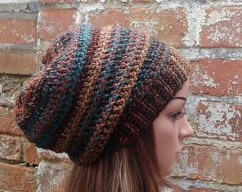Slouch beanie . Ribbed beanie .Colorful beanie . Crochet beanie hat . Women's  beanie hat . Winter beanie . Crochet hat .