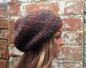 Beanie hat  .Brown hat . Slouch beanie . Crochet hat . Crochet beanie for women. Festival hat .