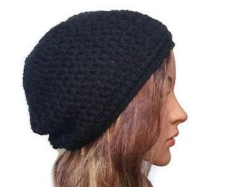 Black  beanie , crochet beanie hat .  Women's  beanie hat . Slouch beanie . Crochet hat . Winter hat.