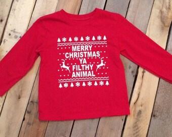 toddler christmas shirt xmas kids christmas babys christmas toddler boy toddler girl holiday shirt merry christmas ya filthy animal