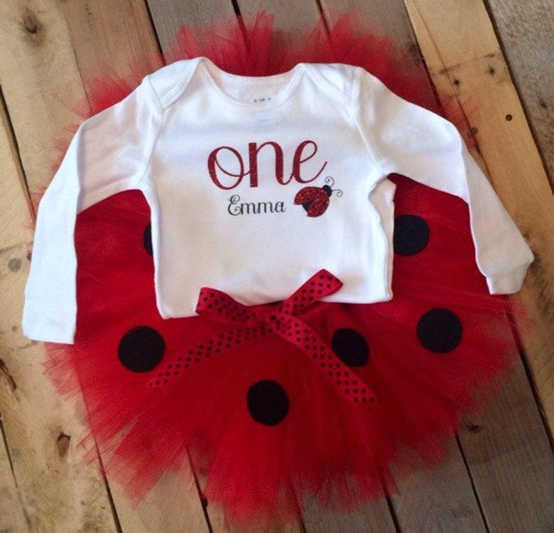 Baby Girl 1st Birthday Outfit Ladybug Tutu Set