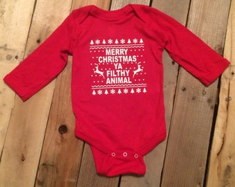 Baby Christmas Onesie - Xmas - Baby Christmas - Kids Christmas - Baby Boy - Baby Girl - Holiday Shirt - Merry Christmas Ya Filthy Animal