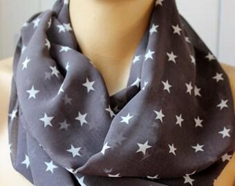 Stars Printed Dark Gray chiffon scarf Fashion infinity scarf Loop scarf Circle scarf  Women Scarf Gift ideas Accessories Fashion Scarves