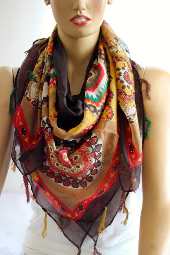 foulard en coton Boho boho foulard idées cadeaux foulards   Etsy ee9ebfff24d