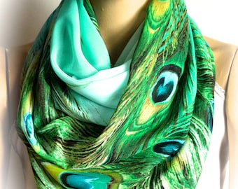 Peacock soft green blue summer infinity scarf Women Scarves Summer Accessories Women Accessories Gift ideas Shawl, Scarf, For her Women
