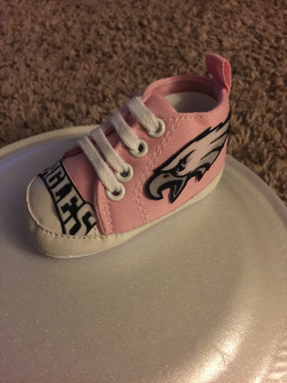 Loley pops creations Eagles pretty pink high tops baby shoes  f08753bbb