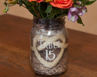 Items Similar To Set Of 6 Small Burlap Wrap Mason Jar Wedding Table