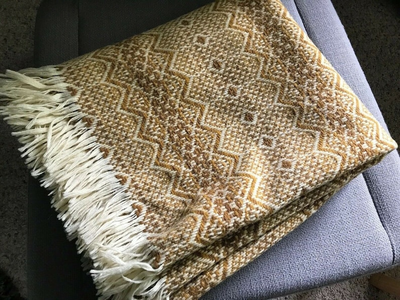 Vintage Amana Wool Throw Blanket Afghan Couch Stadium Car Nordic Southwest