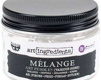 Prima Finnabair Art Ingredients Melange Art Pebbles Clear Various Sizes 46/Pkg 963323