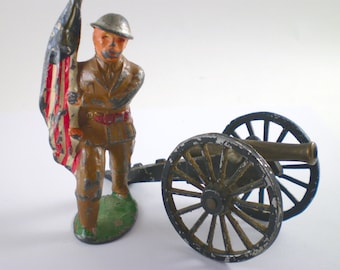 Vintage Dime Store Soldier And Cannon