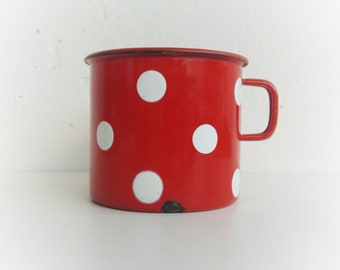 Small enamel pot, Polka dots, Vintage enamelware