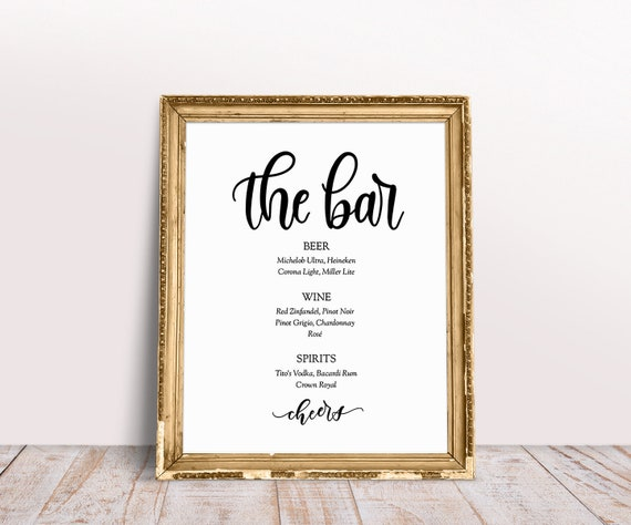 Wedding Bar Menu Wedding Reception Sign Wedding Printable Etsy