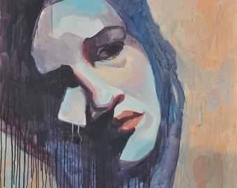 Sad woman - painting