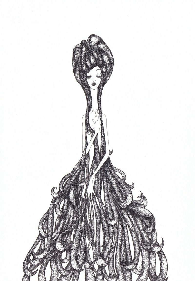 Water Nymph Ink drawing   Etsy