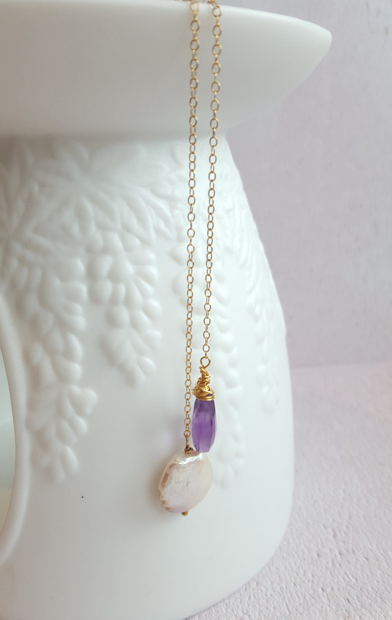 Amethyst and coin pearl lariat necklace gold filled Bridesmaid gift