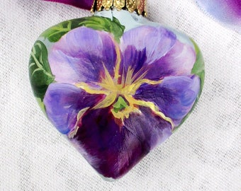 Pansy Heart Ornament ~ Handpainted Pansies ~ June Birthday ~ Shabby Ornament ~ Sweetheart Gift