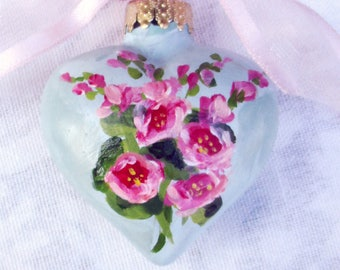 Hollyhocks Heart Ornament ~ Handpainted Hollyhocks ~ Gardeners Gift ~ Vintage Style Ornament ~ Cottage Chic