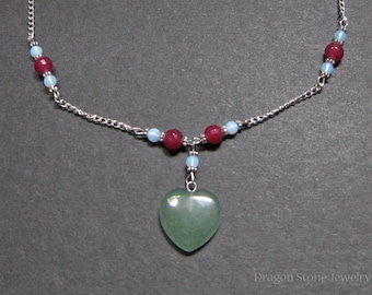 Aventurine Heart Necklace with Opalite and Quartzite