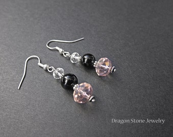 FINAL SALE: Onyx and Faceted Bead Earrings