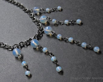 Faceted Opalite Dangle Necklace