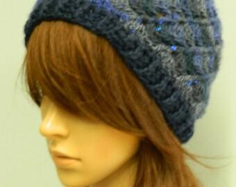 Crochet blue sequined beanie