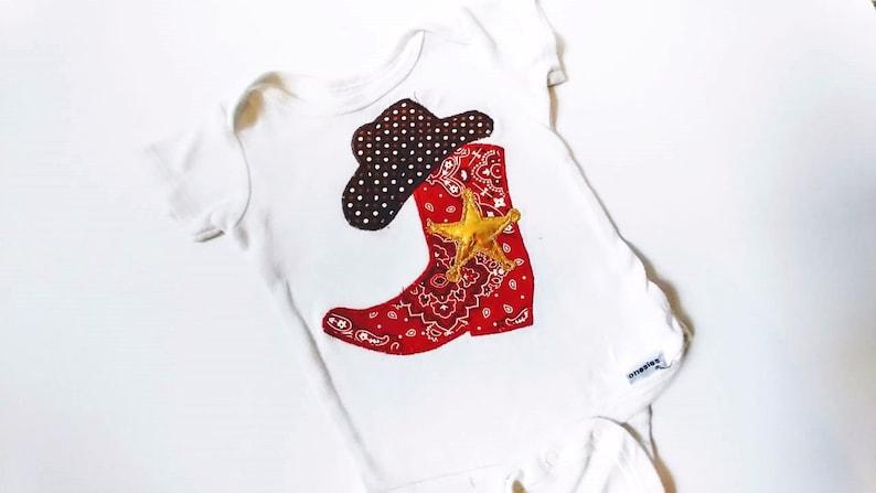 40c42aa2c Baby Boy Cowboy Onesie Sheriff Boot Cowboy Shirt   Etsy