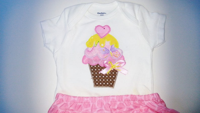 Infant Girl Clothes Infant Girl Summer Outfit Cake Smash Outfit Cupcake Personalized Shirt Bodysuit Ruffle Bloomers Cupcake Party Shirt