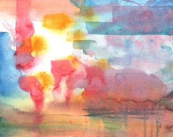 FREE SHIPPING A Lake in My Dream, Abstract Watercolour Painting Archival Print