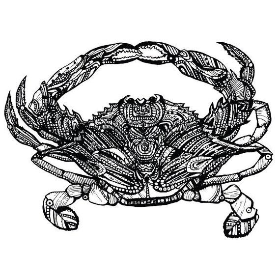 Tatouage temporaire de crabe - Rub sur Design nautique individuel