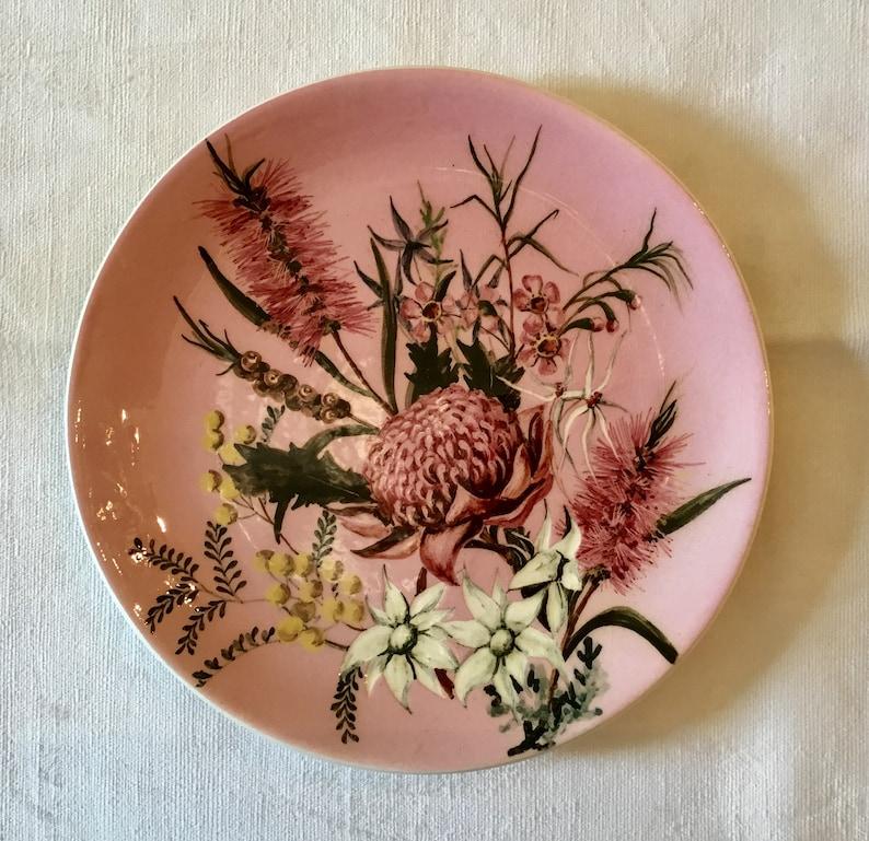 Vintage Martin Boyd Australia Pink Flower Pottery Plate