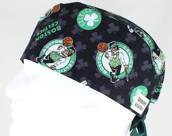 Surgical Regular Tie Back Scrub Hat for Men - Boston Celtics Black e47c6cbdd6a4