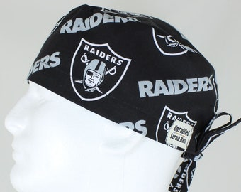 5699a70fd7add Surgical Regular Tie Back Scrub Hat for Men - Oakland Raiders