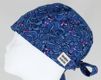 Surgical Tie Back/Pixie Scrub Hat for Women - Pink Ribbon Paisley