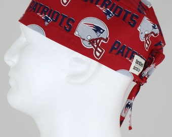 2732c47b223 Surgical Regular Tie Back Scrub Hat for Men - New England Patriots New Red