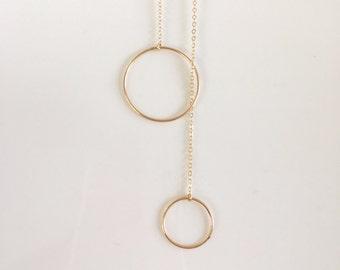 14kt Gold Filled Y Circle Lariat, Gold Y Lariat Necklace, Gold Delicate Y Necklace, Bohemian Y Necklace