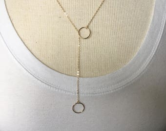 Gold Double Circle Lariat Necklace, Silver Lariat Double Circle Necklace, Lariat Circle Necklace, Karma Necklace, Layering Necklace