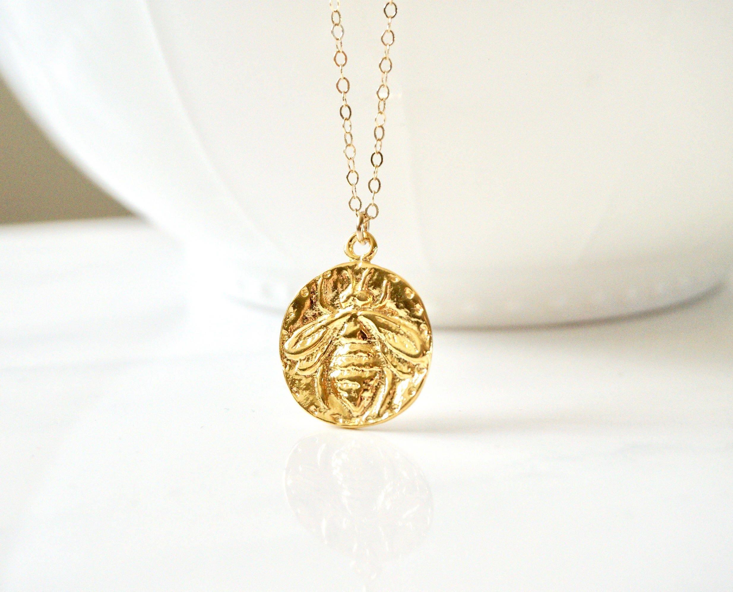 c6b0c0c6d2d13c Honey Bee Medallion Necklace, Gold Bumblebee Necklace, Silver Honey ...