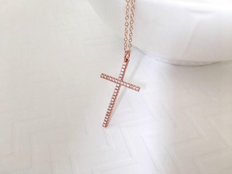 Wedding Jewelry Gold CZ Long Cross Necklace Silver CZ Cross Necklace Large Cross Necklace Rose Gold CZ Cross Necklace