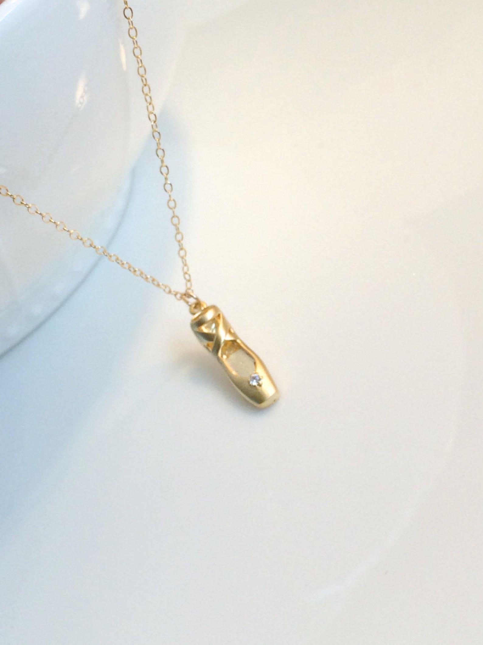 ballet shoe necklace, gold toe shoe necklace, ballerina necklace, gold ballet slipper necklace, silver ballet slipper, little gi