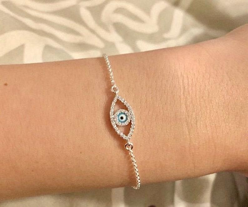 Silver Evil Eye Bracelet Rose Gold Evil Eye Bracelet Gold Evil Eye Bracelet On Trend Protection Evil Eye Bracelet Good Luck Bracelet