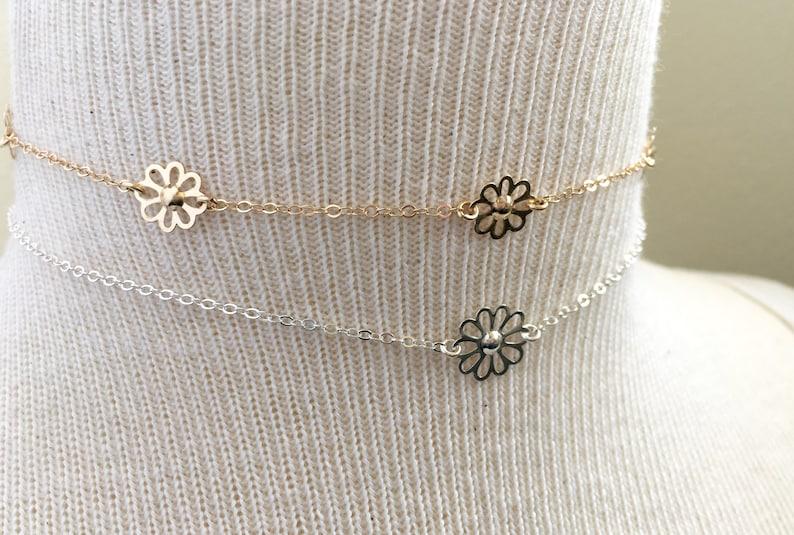 Sterling Silver Flower Choker Boho Choker Bohemian Choker Flower Choker Necklace Gold Filled Flower Choker